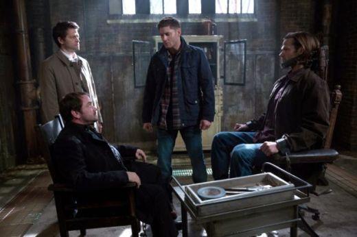 Castiel, Crowley, Dean and Sam